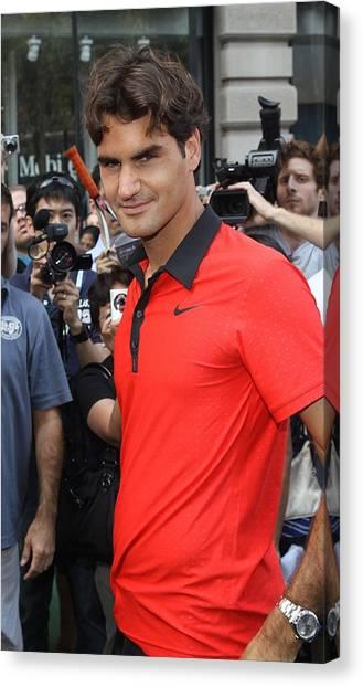 Roger Federer Canvas Print - Roger Federer At A Public Appearance by Everett