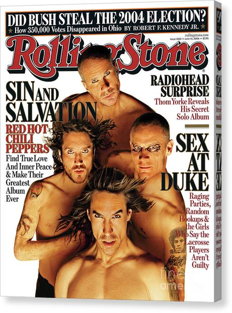 Rolling Stone Cover - Volume #1002 - 6/15/2006 - Red Hot Chili Peppers Canvas Print by Matthew Rolston