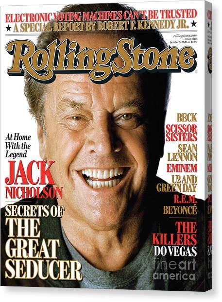Jack Nicholson Canvas Print - Rolling Stone Cover - Volume #1010 - 10/5/2006 - Jack Nicholson by Matthew Rolston
