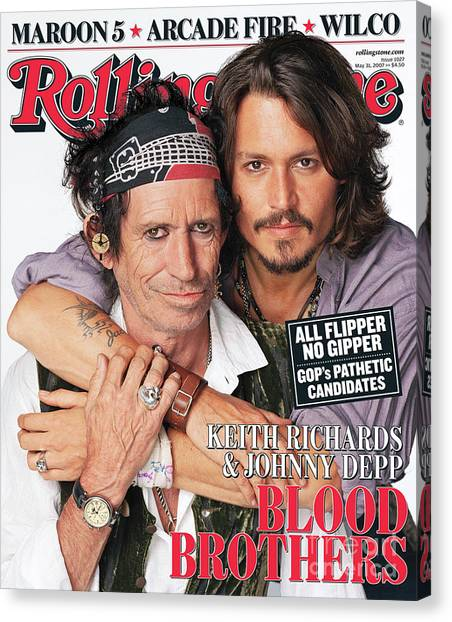 Johnny Depp Canvas Print - Rolling Stone Cover - Volume #1027 - 5/31/2007 - Johnny Depp And Keith Richards by Matthew Rolston
