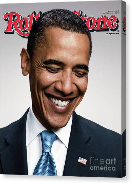 Barack Obama Canvas Print - Rolling Stone Cover - Volume #1057 - 7/10/2008 - Barack Obama   by Peter Yang