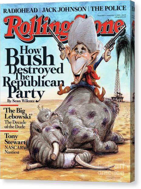 Bush Canvas Print - Rolling Stone Cover - Volume #1060 - 9/4/2008 - George W. Bush by Victor Juhasz