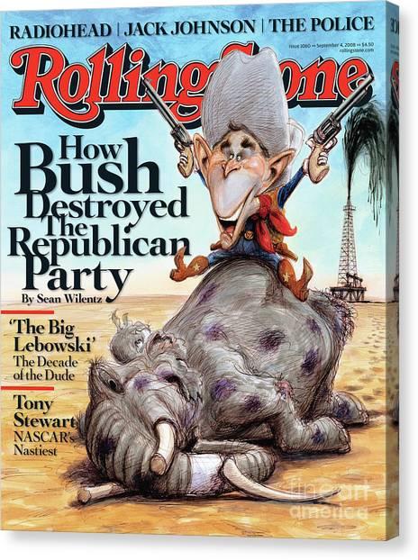 George W. Bush Canvas Print - Rolling Stone Cover - Volume #1060 - 9/4/2008 - George W. Bush by Victor Juhasz