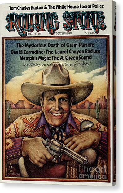 Rolling Stone Cover - Volume #146 - 10/25/1973 - Gene Autry Canvas Print by Gary Overacre