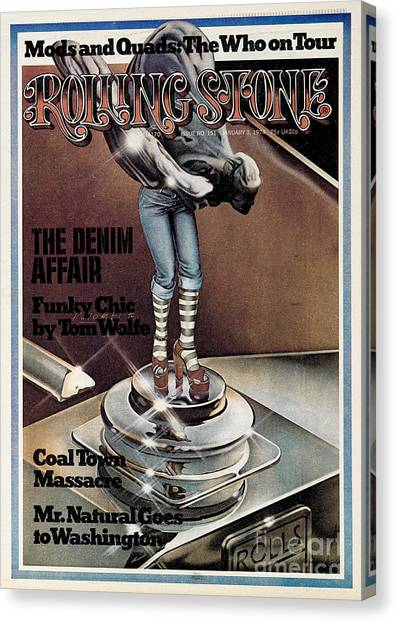 Rolling Stone Cover - Volume #151 - 1/3/1974 - Funky Chic Canvas Print by Peter Palombi
