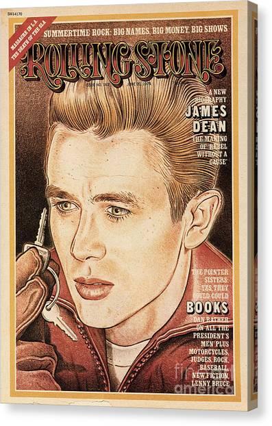 James Dean Canvas Print - Rolling Stone Cover - Volume #163 - 6/20/1974 - James Dean by John van Hamersveld