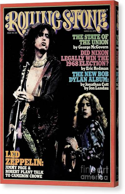 Jimmy Page Canvas Print - Rolling Stone Cover - Volume #182 - 3/13/1975 - Jimmy Page And Robert Plant by Neal Preston