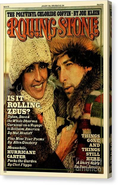 Rolling Stone Cover - Volume #204 - 1/15/1976 - Joan Baez And Bob Dylan Canvas Print by Ken Regan