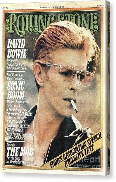 Rolling Stone Cover - Volume #206 - 2/12/1976 - David Bowie Canvas Print by Steve Schapiro