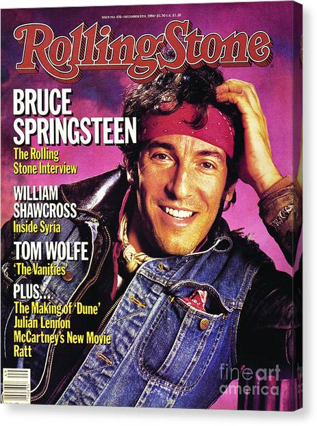 Bruce Springsteen Canvas Print - Rolling Stone Cover - Volume #436 - 12/6/1984 - Bruce Springsteen by Aaron Rapoport