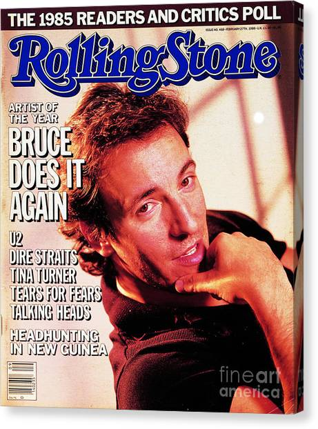 Bruce Springsteen Canvas Print - Rolling Stone Cover - Volume #468 - 2/27/1986 - Bruce Springsteen by Aaron Rapoport