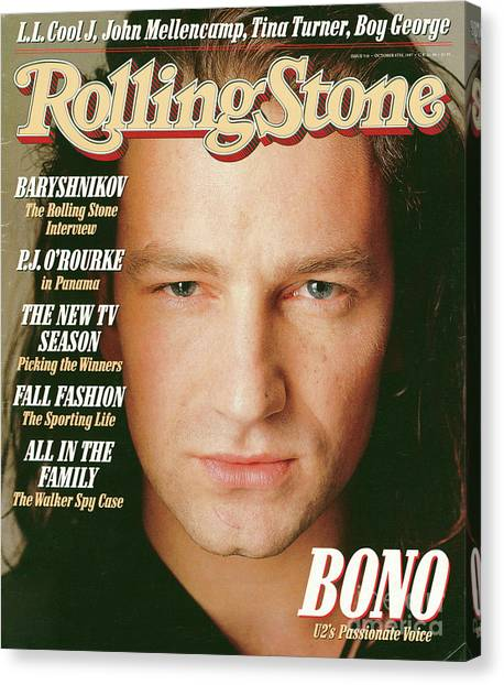 Bono Canvas Print - Rolling Stone Cover - Volume #510 - 10/8/1987 - Bono by Matthew Rolston