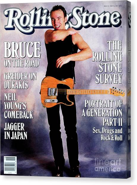 Bruce Springsteen Canvas Print - Rolling Stone Cover - Volume #525 - 5/5/1988 - Bruce Springsteen by Neal Preston