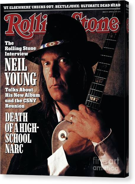 Neil Young Canvas Print - Rolling Stone Cover - Volume #527 - 6/2/1988 - Neil Young  by William Coupon