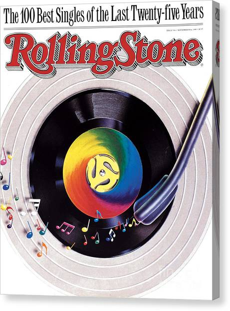 Rolling Stone Cover - Volume #534 - 9/8/1988 - 100 Greatest Singles Canvas Print by Steve Pietzsch