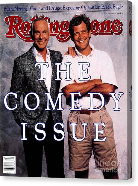 Johnny Carson Canvas Print - Rolling Stone Cover - Volume #538 - 11/3/1988 - Johnny Carson And David Letterman by Bonnie Schiffman