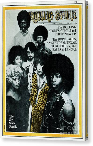 Sly Canvas Print - Rolling Stone Cover - Volume #54 - 3/19/1970 - Sly And The Family Stone by Stephen Paley