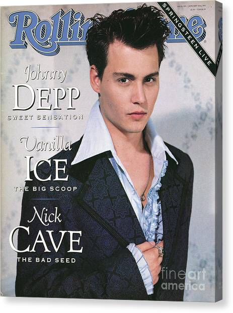 Johnny Depp Canvas Print - Rolling Stone Cover - Volume #595 - 1/10/1991 - Johnny Depp by Herb Ritts