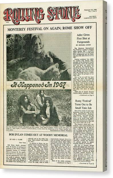 Janis Joplin Canvas Print - Rolling Stone Cover - Volume #6 - 2/24/1968 - Janis Joplin by Baron Wolman