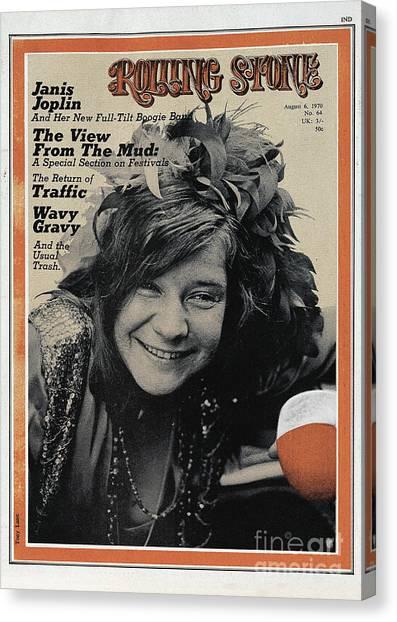Janis Joplin Canvas Print - Rolling Stone Cover - Volume #64 - 8/6/1970 - Janis Joplin by Tony Lane