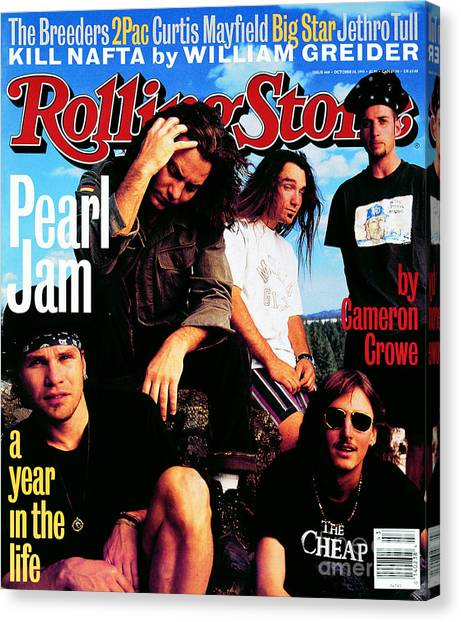 Pearl Jam Canvas Print - Rolling Stone Cover - Volume #668 - 10/28/1993 - Pearl Jam by Mark Seliger