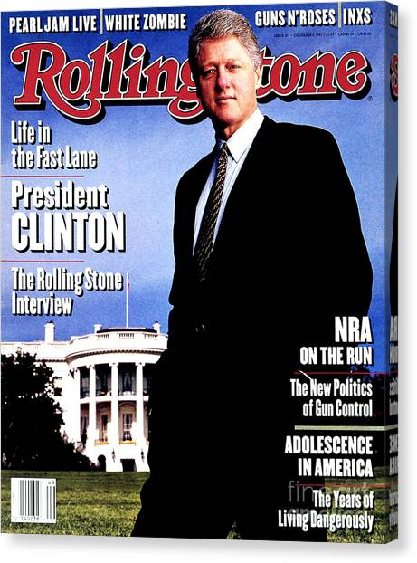 Bill Clinton Canvas Print - Rolling Stone Cover - Volume #671 - 12/9/1993 - Bill Clinton by Mark Seliger