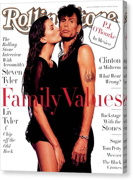 Aerosmith Canvas Print - Rolling Stone Cover - Volume #694 - 11/3/1994 - Liv And Steven Tyler by Albert Watson