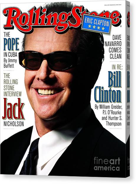 Rolling Stone Cover - Volume #782 - 3/19/1998 - Jack Nicholson Canvas Print by Albert Watson