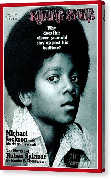 Rolling Stone Cover - Volume #81 - 4/29/1971 - Michael Jackson Canvas Print by Henry Diltz