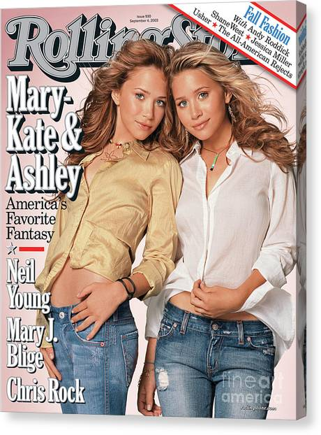 Mary Canvas Print - Rolling Stone Cover - Volume #930 - 9/4/2003 - Mary-kate And Ashley Olsen by Matthew Rolston