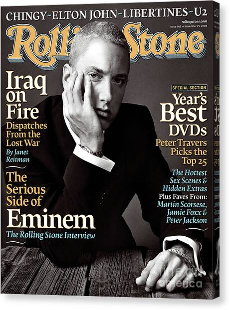 Rolling Stone Cover - Volume #962 - 11/25/2004 - Eminem Canvas Print by Norman Jean Roy