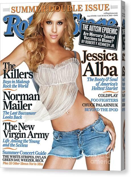 Jessica Alba Canvas Print - Rolling Stone Cover - Volume #977 - 6/30/2005 - Jessica Alba by Matthew Rolston