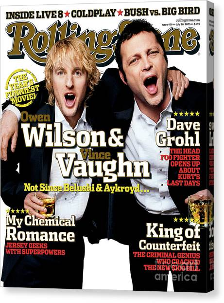 Rolling Stone Cover - Volume #979 - 7/28/2005 - Owen Wilson And Vince Vaughn Canvas Print by Max Vadukul