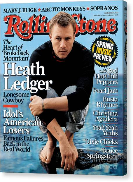 Heath Ledger Canvas Print - Rolling Stone Cover - Volume #996 - 3/23/2006 - Heath Ledger by Sam Jones