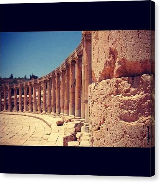 Roman Art Canvas Print - Roman Ruins Of Jerash Jordan by Wolf Stumpf