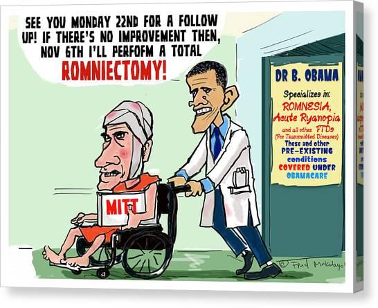 Obamacare Canvas Print - Romnesia by Fred Makubuya