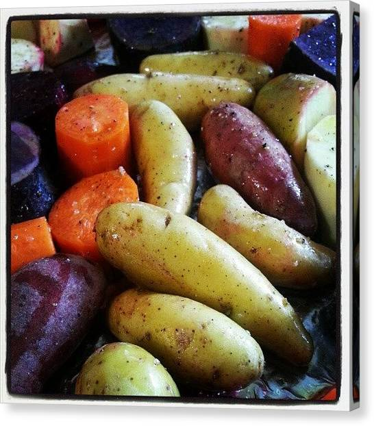 Potato Canvas Print - Root Veggies Going In To Roast by Lisa Marchbanks