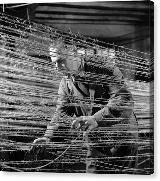 Ropery Worker Canvas Print by John Drysdale