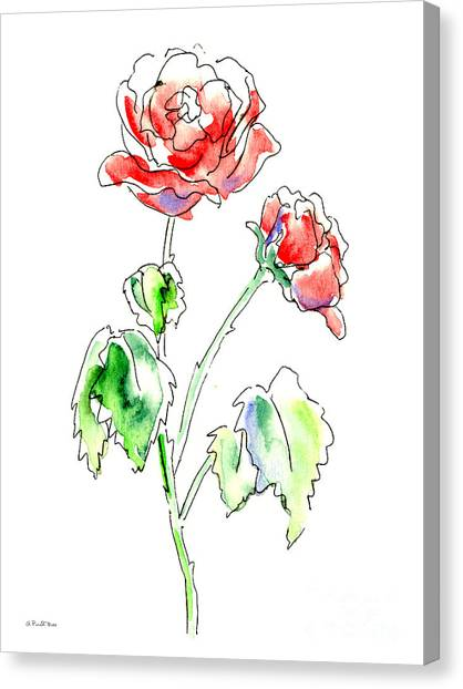 Watercolor Rose Canvas Print - Rose 2 Floral Painting by Gordon Punt