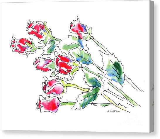 Watercolor Rose Canvas Print - Rose 6 Floral Watercolor by Gordon Punt