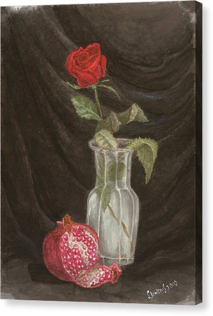 Rose And Pomegranate Canvas Print