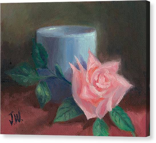 Rose With Blue Cup Canvas Print