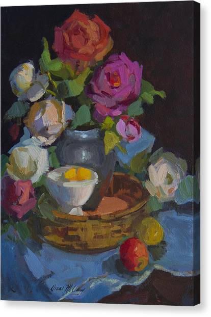 Fruit Baskets Canvas Print - Roses And Basket by Diane McClary