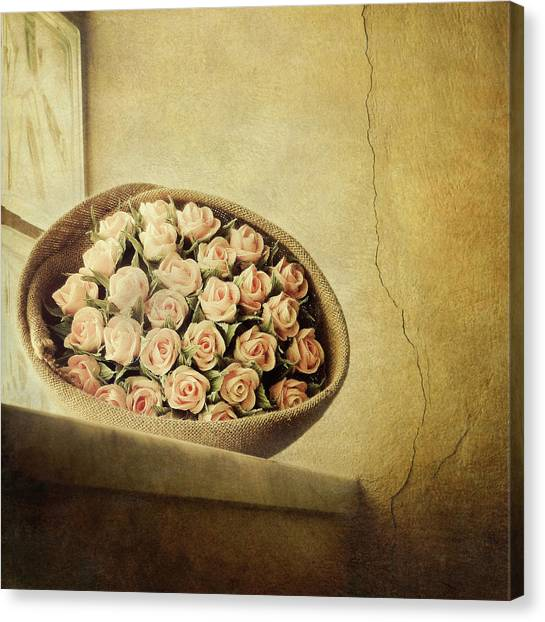 Roses On Window Canvas Print by Marco Misuri