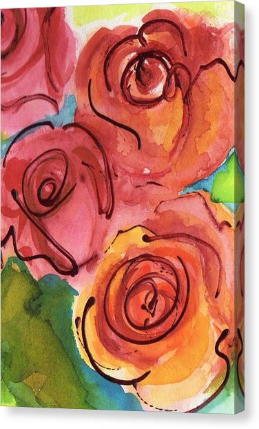 Pinks Canvas Print - Rosettes by Judy  Rogan