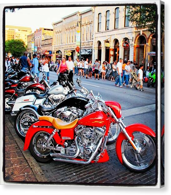 Biker Canvas Print - Rot Rallly 2 by Pauline Walsh Jacobson