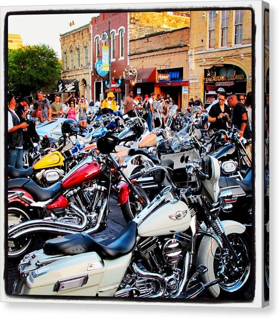 Biker Canvas Print - Rot Rally 1 by Pauline Walsh Jacobson