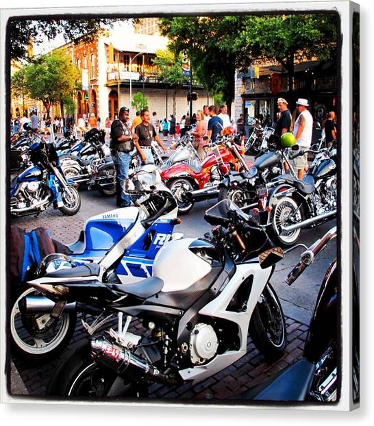 Biker Canvas Print - Rot Rally 3 by Pauline Walsh Jacobson