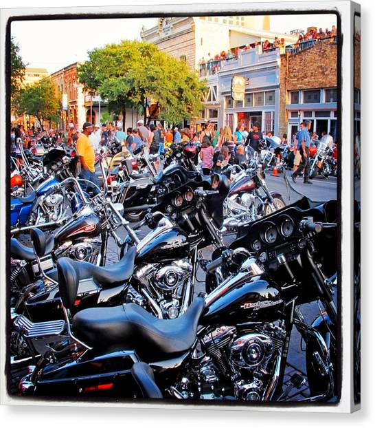 Biker Canvas Print - Rot Rally 4 by Pauline Walsh Jacobson