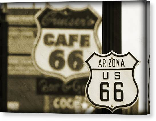 Historic Route 66 Canvas Print - Route 66 by Ricky Barnard
